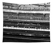 Antique Piano Black And White Tapestry