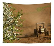 Apple Blossoms And Farmer On Tractor Tapestry