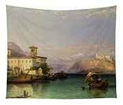 Arona And The Castle Of Angera Lake Maggiore Tapestry