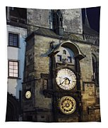 Astronomical Clock At Night Tapestry