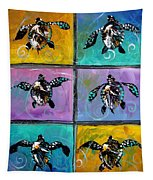 Baby Sea Turtles Six Tapestry