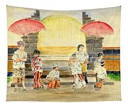 Balinese Children In Traditional Clothing Tapestry