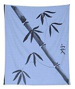 Bamboo Art In Cyan Tapestry