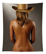 Bare Back Of A Suntanned Woman In A Straw Hat Tapestry
