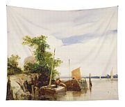 Barges On A River Tapestry