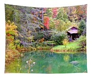Barn And Pond In The Fall Tapestry