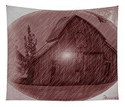 Barn Snow Globe Tapestry