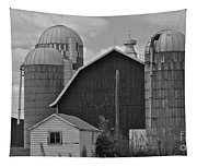 Barns And Silos Black And White Tapestry