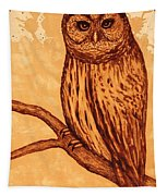 Barred Owl Coffee Painting Tapestry