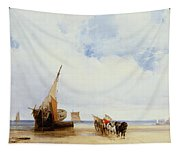 Beached Vessels And A Wagon Near Trouville Tapestry