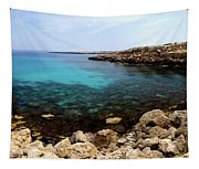 Beautiful View On Mediterranean Sea Cape Gkreko In Cyprus Tapestry