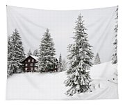 Beautiful Winter Landscape With Trees And House Tapestry