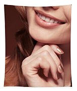 Beautiful Young Smiling Woman Mouth Tapestry