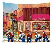 Beauty's Restaurant-montreal Street Scene Painting-hockey Game-hockeyart Tapestry