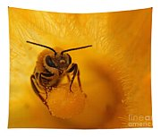 Bee On Squash Flower Tapestry