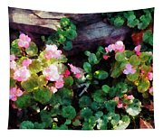 Begonias By Stone Wall Tapestry