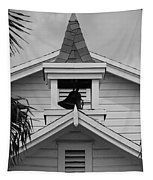Bell Tower In Black And White Tapestry
