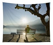 Bench And Sunset Tapestry