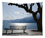 Bench And Tree On An Alpine Lake Tapestry