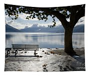 Bench And Tree On The Lakefront Tapestry