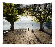 Bench And Trees On The Lake Front Tapestry