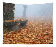 Bench In The Fog Tapestry