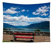 Bench With Panorama View Tapestry