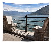 Benches On The Lake Front Tapestry