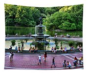 Bethesda Fountain Overlooking Central Park Pond Tapestry