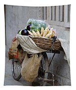 Bicycle Loaded With Food, Delhi, India Tapestry