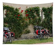 Bicycles Parked By The Wall Tapestry
