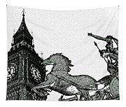 Big Ben And Boudica Charcoal Sketch Effect Image Tapestry