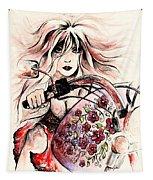 Biker Girl Tapestry