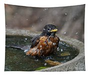 Bird Bath Fun Time Tapestry