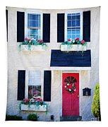 Black Window Shutters With Flowers Tapestry