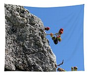 Blackberry On The Rock Top. Square Format Tapestry
