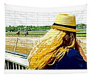 Blonde At Racetrack Tapestry