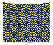 Blue And Yellow Chevron Pattern Tapestry