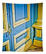 Blue And Yellow Door Tapestry