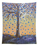 Blue-blossomed Wishing Tree Tapestry