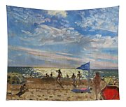 Blue Flag And Red Sun Shade Tapestry