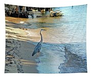 Blue Heron On The Beach Tapestry