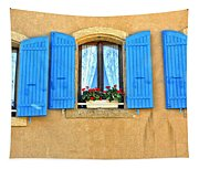 Blue Shutters In Provence Tapestry