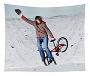 Bmx Flatland In The Snow - Monika Hinz Tapestry