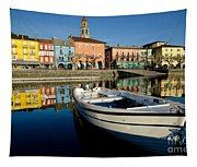 Boat And Village Tapestry