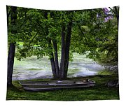 Boat By The Pond 2 Tapestry