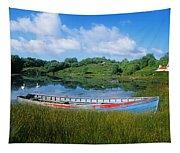 Boat Moored At A Harbor, Ellens Rock Tapestry