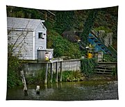 Boathouse Boy Fishing Tapestry
