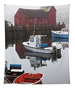 Boats At Rockport Harbor Tapestry