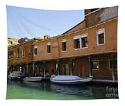 Boats On The Canal - Venice Tapestry